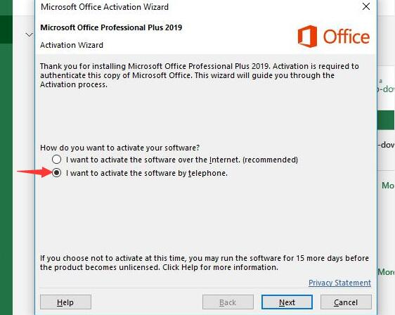 Office 2019 Professional Plus Phone Activation